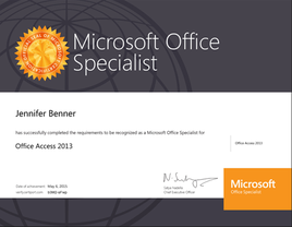 Microsoft Access 2013 Certification